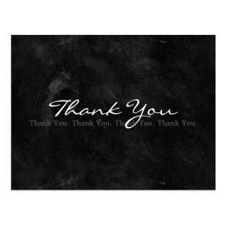 Thank You Simple Black and White Blackboard Postcard