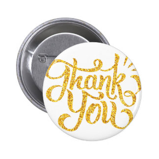 Thank you simple golden sparkling glitters 2 inch round button