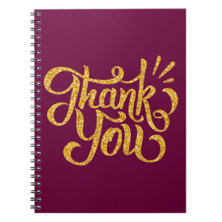 Thank you simple golden sparkling glitters notebooks