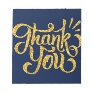 Thank you simple golden sparkling glitters notepad