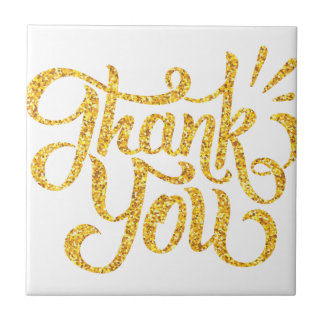 Thank you simple golden sparkling glitters tile