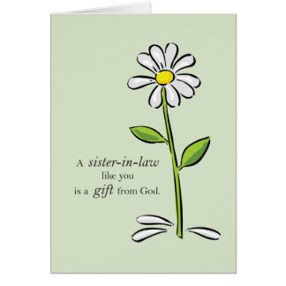 Thank You Sister-in-Law Religious Green Daisy Flow Card