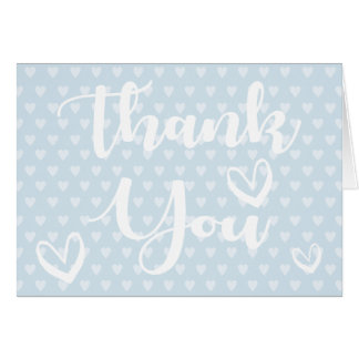 Thank You Sky Blue & White Hearts - Wedding, Party Card