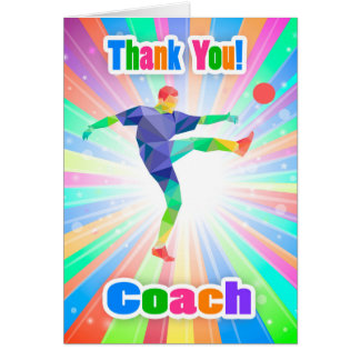 Thank you soccer / football coach, with abstract card