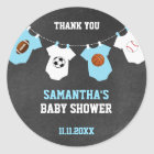 Thank You Sports Theme Baby Shower Chalkboard Boy Classic Round Sticker