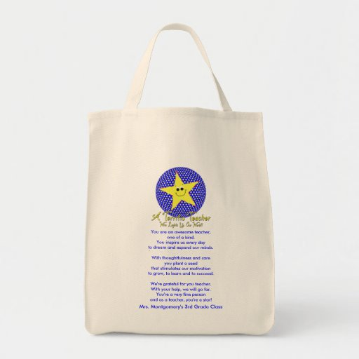 Thank You Star Teacher Poem Grocery Tote Bag