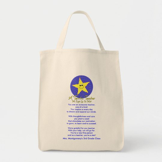 Thank You Star Teacher Poem Tote Bag