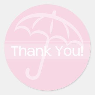 Thank You Sticker Pink Umbrella