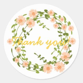 Thank you sticker wreath with orange flowers round stickers