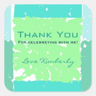 Thank You Stickers Aqua colors faux batik