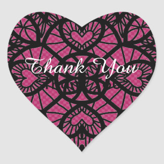 Thank You  Stickers, Black And Pink Lace Stickers