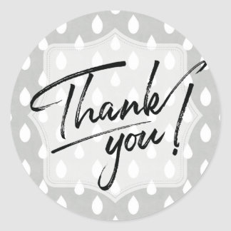 Thank You Stickers   Gray Shower Raindrops Pattern
