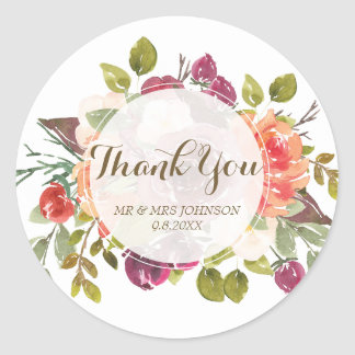 thank you stickers marsala floral orange