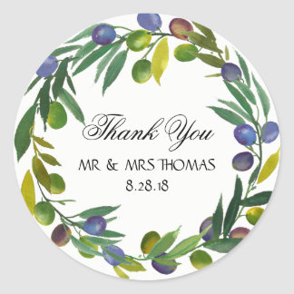 Thank you stickers olives personalise them