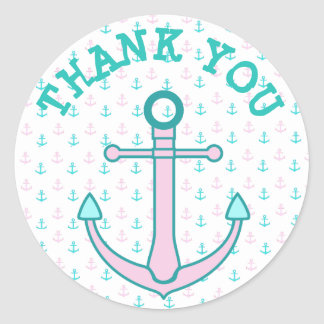 Thank You Stickers Pink and Teal or Aqua Stickers