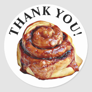 Thank You Sticky Bun Cinnamon Roll Stickers