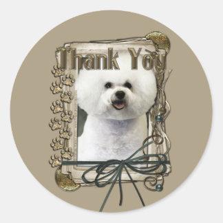 Thank You - Stone Paws - Bichon Frise Classic Round Sticker