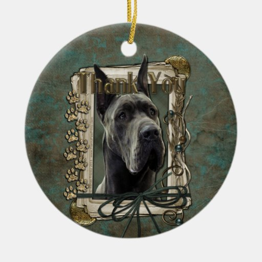 Thank You - Stone Paws - Great Dane - Grey Christmas Ornaments