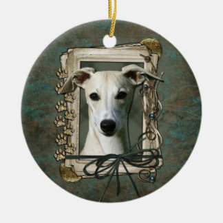 Thank You - Stone Paws - Whippet Ceramic Ornament