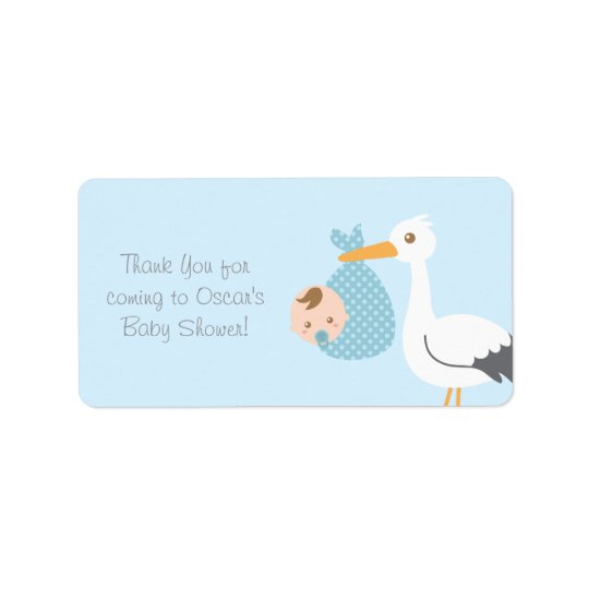 Thank You Stork Delivers Cute Baby Boy Label