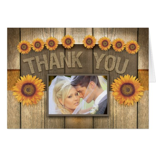thank you sunflower & wood photo wedding cards