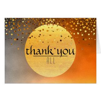 Thank You Sunset Moon Confetti Glitter Greeting Card