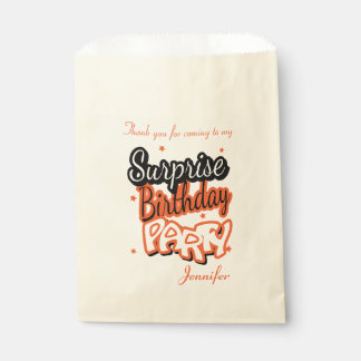 Thank You Surprise Birthday Party | Orange Favour Bag
