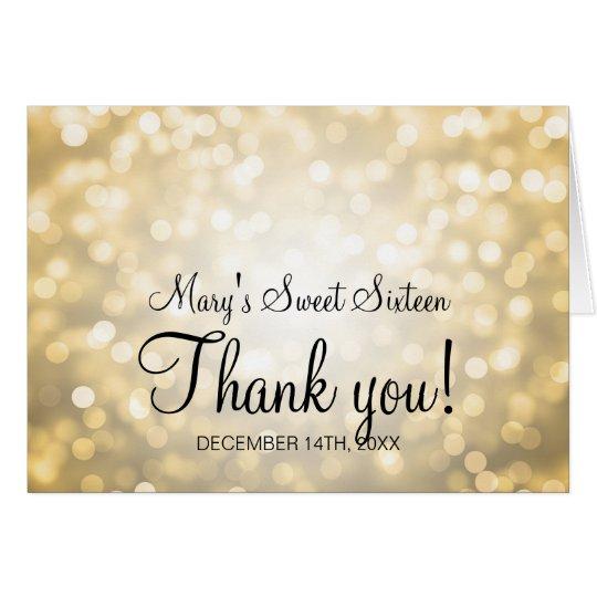 Thank You Sweet 16 Birthday Gold Glitter Lights Card