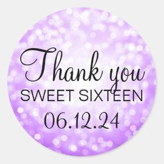 Thank You Sweet 16 Birthday Purple Glitter Lights Round Sticker