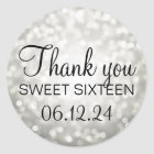 Thank You Sweet 16 Birthday Silver Glitter Lights Classic Round Sticker