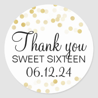 Thank You Sweet 16 Faux Gold Foil Glitter Lights Round Sticker