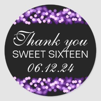 Thank You Sweet 16 Hollywood Glam Purple Classic Round Sticker
