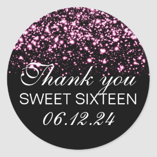 Thank You Sweet 16 Midnight Glam Pink Classic Round Sticker