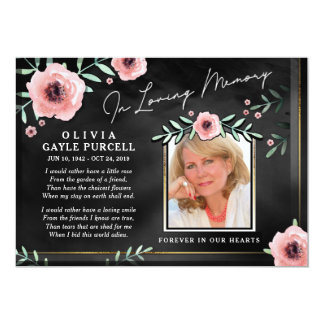 Thank You Sympathy Black & Pink Floral Photo Card