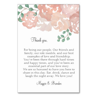 Thank You table cards for MH
