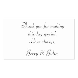 Thank you tag 2 sided business card