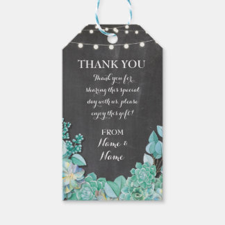 Thank you Tag Chalk Favour Tags Succulent Wedding