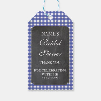 Thank you Tag Favour Blue Check Bridal Shower Pack Of Gift Tags