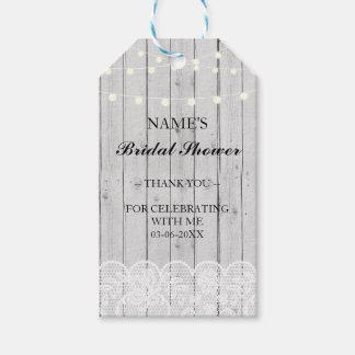 Thank you Tag Favour Grey Wood Lace Bridal Shower Pack Of Gift Tags