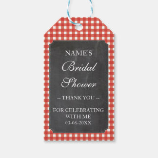 Thank you Tag Favour Red Check Bridal Shower Pack Of Gift Tags
