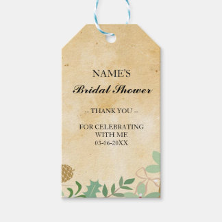 Thank you Tag Favour Vintage Foliage Bridal Shower Pack Of Gift Tags