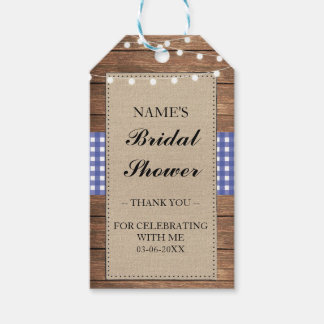 Thank you Tag Favour Wood Blue Check Bridal Shower Pack Of Gift Tags