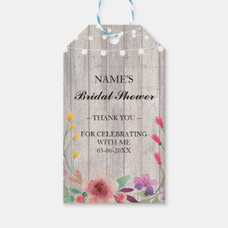 Thank you Tag Favour Wood Floral Bridal Shower Pack Of Gift Tags