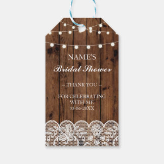 Thank you Tag Favour Wood Lace Bridal Shower Pack Of Gift Tags