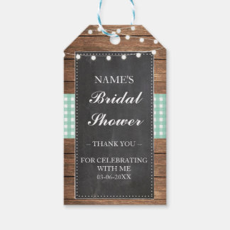 Thank you Tag Favour Wood Mint Check Bridal Shower Pack Of Gift Tags