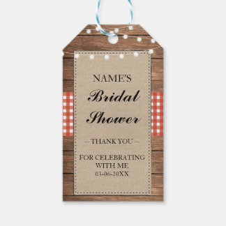 Thank you Tag Favour Wood Red Check Bridal Shower Pack Of Gift Tags