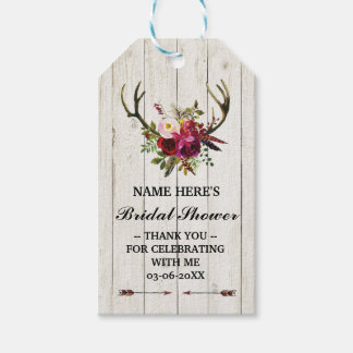 Thank you Tag Floral Favour Antlers Bridal Shower Pack Of Gift Tags