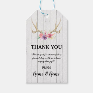 Thank you Tag Floral Favour Wood Antler Wedding