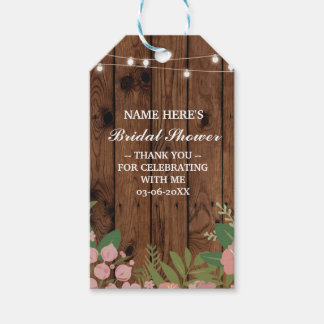 Thank you Tag Floral Favour Wood Bridal Shower Pack Of Gift Tags