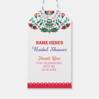 Thank you Tag Floral Fiesta Mexico Bridal Shower Pack Of Gift Tags